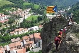 Vertical excursion ferrata at the Roca de la Cruz in Ribes de…